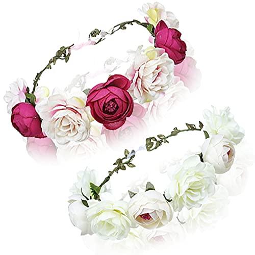 2stk Blumen Haarbänder Verstellbar Blumen Stirnbänder Blumenkrone Haarkranz Krone Kopfband Blumenstirnband Haare Blumengirlande Kopfschmuckfür Damen Mädchen Hochzeit Party Festival