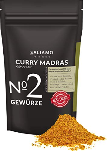 Curry Madras gemahlen, nach englischer Rezeptur, intensiver aromatischer Curry, für Currys Gemüse, Asia Pfanne, Chutneys, Reis, Fleisch und Currywurst 250 g | Saliamo