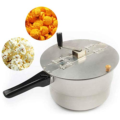 Fantastic Deal! xxz Popcorn Maker, Stainless Steel Stovetop Popcorn Popper Hand Stirring Crank Dishw...