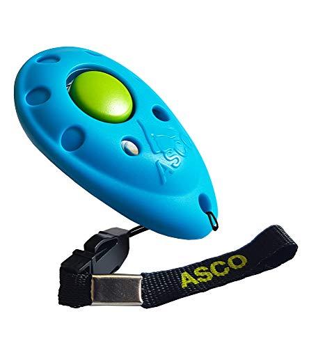 ASCO Clicker Premium clicker Training, clicker Professionale per Cani, Gatti e Cavalli, clicker per addestramento Cani, Blu AC04P