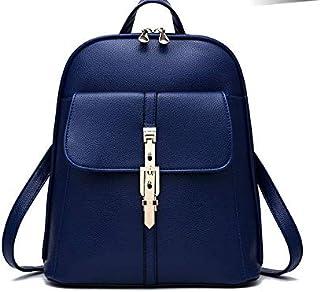 Leather Women Backpack Blue Zipper School Bag for Teenager Small Back Pack Shoulder Bag-XX