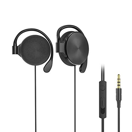 Clip-on Headphones, subwoofer Stereo Wired Headphones, Compatible with 3.5mm Interface Device, with Microphone(Black)