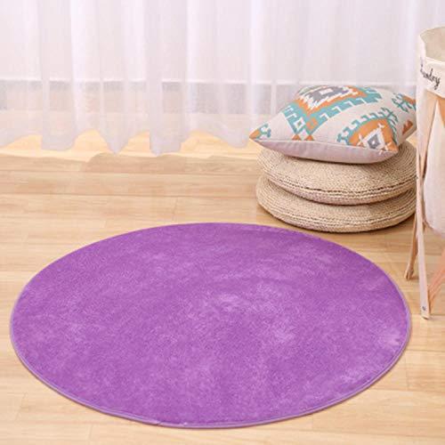 YanLong Verdik rond slaapkamerbed met vloerbedekking van koraalfluweel, antislip, wasbaar, voetmat lila