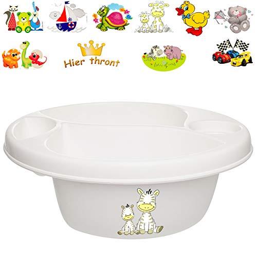 alles-meine.de GmbH Waschschüssel / Kinderwaschbecken - weiß _ Motiv-Mix - Mädchen _ Bieco - 3 Kammern - Baby - Putzeimer - Windeln Wickelschüssel - Windel Babywindel - für Kinde..