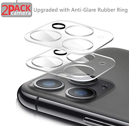 Maxaka Camera Lens Protector[2 Packs] for iPhone 11 Pro/Pro Max Tempered Glass, Easy Install Ultra Thin 9H HD Clear, Upgrade with Anti-Glare Circle, Case Friendly, 2pcs Clear Glass