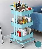 Carrello portaoggetti a 3 ripiani multiuso con ruote, carrello in metallo, carrello portautensili da cucina, cucina, bagno, ufficio (blu)