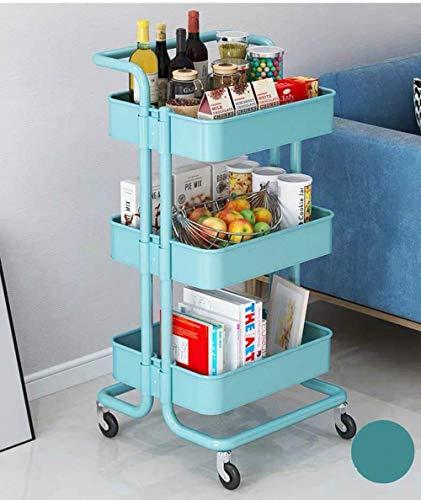 Chariot de rangement à 3 étages en métal avec 2 freins pour cuisine, salle de bain, bureau (bleu)