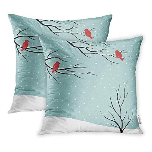 Juego de 2 Fundas Rama Azul Escena de Invierno de árboles Desnudos y pájaros en la Nieve Funda de cojín de Nieve roja de Navidad Funda de cojín para sofá de Cama 50 * 50 CM