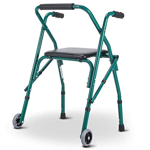 Z-SEAT Andador con Andador con Asiento y 2 Ruedas, portátil, Ligero, Plegable, para Personas Mayores, para la casa al Aire Libre, Todo Terreno