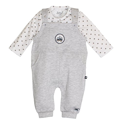 SALT AND PEPPER Baby-Jungen NB Dungarees Ready Uni Strampler, Grau (Light Grey Melange 205), 50