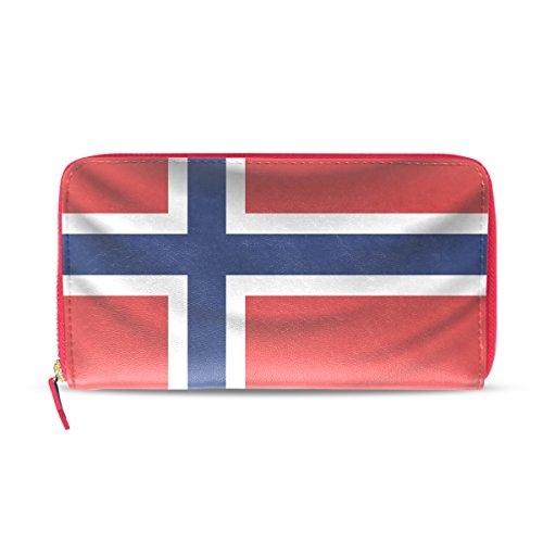 Cartera de Piel con Bandera de Noruega Envejecida para Mujer