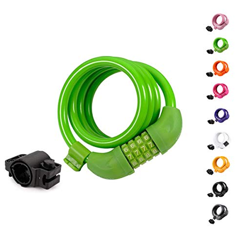 Titanker Bike Lock, 4 Feet Security Resettable Combination Coiling Bike Cable Locks with Mounting Bracket, 1/2 Inch Diameter (Green)