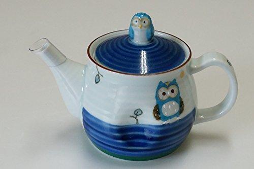 Tetera con diseño de búho japonés, azul Imariyaki, fabricada en Japón 12704001
