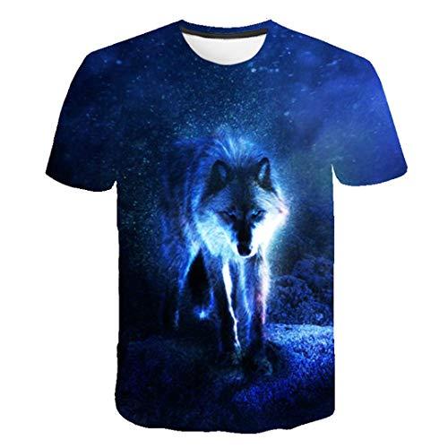 Verano Animal Lobo Camiseta Hombres 3D impresión Linda Graciosa o-Cuello Casual Manga Corta Harajuku Anime Camiseta TX-5068 XXXL