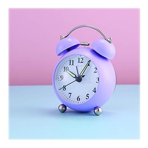 YUXI8541NO Despertador Despertadores Fuertes for los durmientes Pesados Digital Despertador/Silencio/Luminoso/Personalidad/niño de Noche Despertador, púrpura/Naranja, Reloj Despertador Analogico