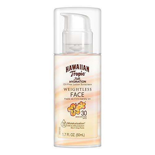 Hawaiian Tropic Silk Hydration Weightless Sunscreen Face Lotion, Broad-Spectrum Protection, SPF 30, 1.7 Ounces