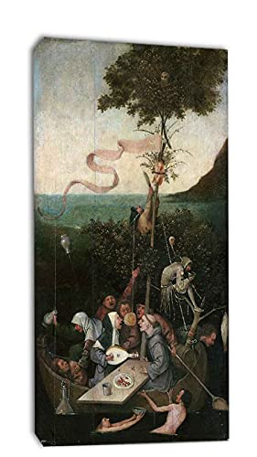Hieronymus Bosch La Nef des Fous Tableau Decoration Murale Salon Poster Tableaux, Posters Et Arts Décoratifs Decoration Chambre Tableau prêt à accrocher (65x130cm(26x51inch),Encadré)