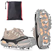 Vdealen Crampons for Hiking Boots, 19 Teeth Stainless Steel Anti-Slip Traction Ice Cleats, Slip-Resistant Snow Ice Spikes,Crampons,Ice Snow Grips for Walking on Ice Snow (Orange, M(36-40))