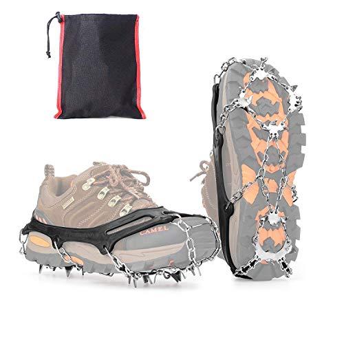 Vdealen Steigeisen für Stiefel Schuhe 19 Edelstahl Spikes, Anti-Rutsch Winter Schuhkrallen für Schnee und EIS, Damen Herren Grödel Spikes für Wandern Klettern Angeln (M)