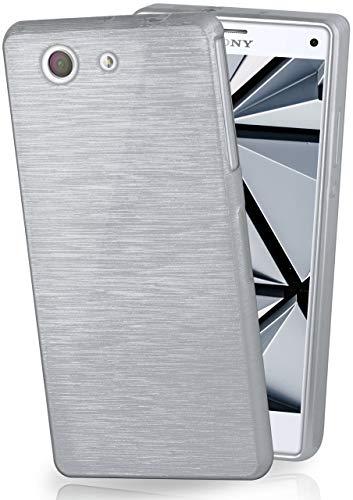 MoEx® Coque très Fine en Silicone Compatible Sony Xperia Z3 Compact | Style Aluminium brossé, argenté