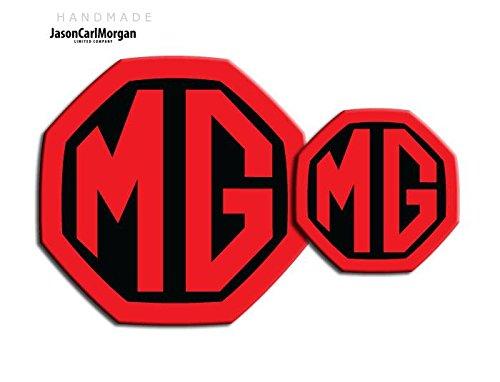 JasonCarlMorgan MG ZR LE500 - Insignias de inserción delantera y trasera (59 mm/95 mm), color negro y rojo