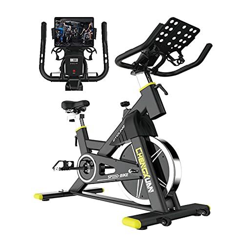 WASDY Bicicleta Estática Bici Spinning Indoor, Sportstech Bicicleta con Pantalla LCD/Correa silenciosa/Pulsómetro/Soporte para iPad/Resistencia Magnética/Asiento Suave Ajustable,hasta 200Kg