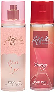Affetto By Sunny Leone Pure Love & Vintage Body Mist - For Women 200ML Each (400ML, Pack of 2)