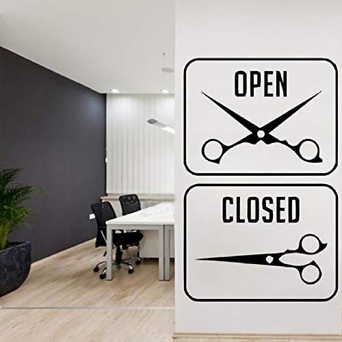 yuandp Muurtattoo kapper logo sticker haarknip scheermes haar cut baard gezicht gereedschap logo sticker 66x42cm Ab