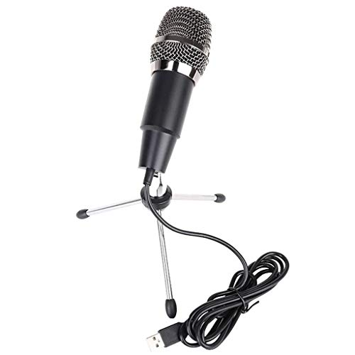ErYao USB Microphone for Computer, Studio Condenser Microphone with Tripod Stand for PC, Broadcast Microphone for Skype, for YouTube (Black)
