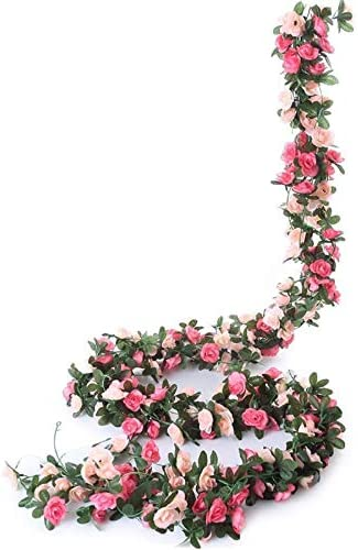 Miracliy 5 Pack 41 FT Fake Rose Vine Flowers Plants Artificial Flower Hanging Rose Ivy Home Hotel Office Wedding Party Garden Craft Art Décor Pink…