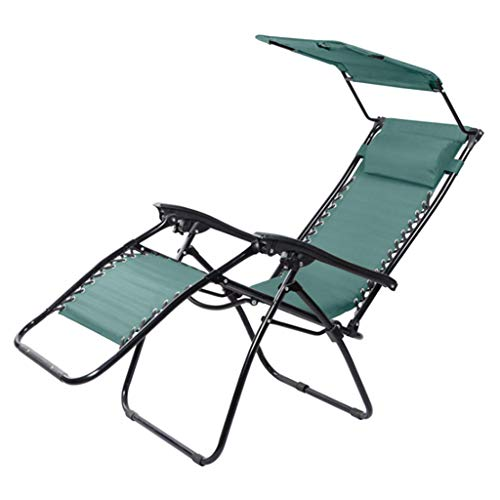 Sling chair Folding With Canopy Zero Gravity Chairs Sun Lounger Recliner For Beach Patio Garden Camping Outdoor Sunshade Chair (Color : Navy blue)