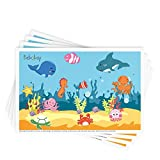 Disposable Stick-on Placemats 40 Pack for Baby & Kids Table Topper Disposable, Toddler Placemats in Reusable Pouch 12' x 18' (Blue Ocean Life)