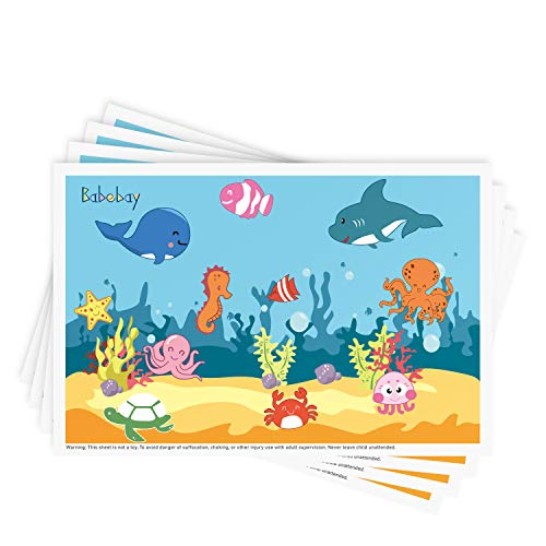 Disposable Stick-on Placemats 40 Pack for Baby & Kids Table Topper Disposable, Toddler Placemats in Reusable Pouch 12' x 18', Ocean Life Sticky Place Mats, BPA Free Plastic Keep Dirt Away