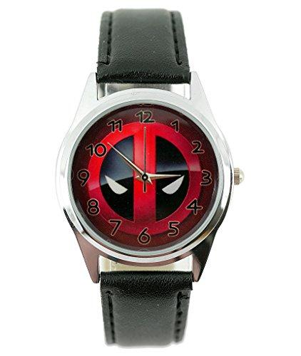 taport® Reloj de cuarzo Deadpool Marvel Funda de piel Real banda + libre batería de repuesto + libre bolsa de regalo