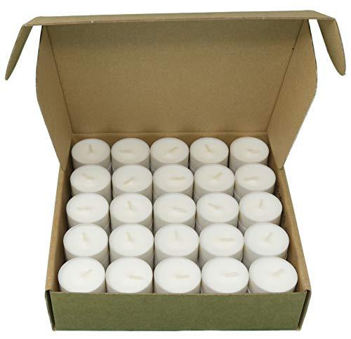 Kompostierbare Tasse Teelichter Industrielle Kompostierung Gemüsewachs Rapswachs Teelichter 4 Stunden Brennzeit Packung mit 75 Kerzen ohne Duft (Pappkarton)