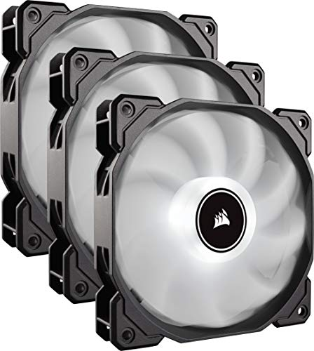 Corsair AF120, Air Series LED - Paquete de 3 ventiladores de refrigeración silencioso de 120 mm, color blanco