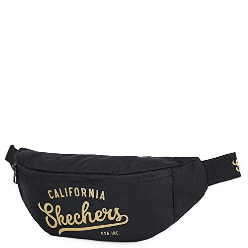 SKECHERS - Riñonera Mujer Ajustable a la Cintura Compartimentos para Móvil y Documentos Ligera Práctica Resistente Ligera Ideal para Pasear S907, Color Negro