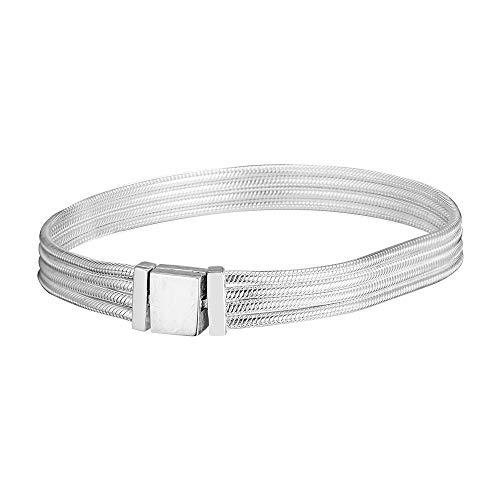 CHICBUY 2019 - Pulsera de cadena de serpiente múltiple con reflexiones de resorte de plata de ley 925, se adapta a pulseras Pandora originales 17 cm plata
