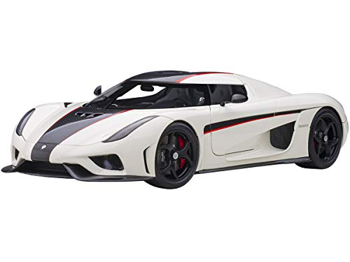 Koenigsegg Regera White with Black Carbon and Red Stripes 1/18 Model Car by Autoart 79027