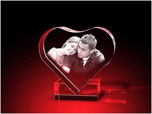 GLASFOTO.COM, Glasfoto Herz mit Halterung, 58 x 58 x 30 mm, mit Ihrem eigenen Foto als individuell anpassbares Geschenk, Kristallglas Innengravur in Premiumqualität