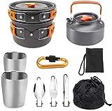 XHLLX Conjunto De Utensilios De Cocina para Acampar, Utensilios De Cocina De Tetera De Campamento con Tazas, para Viajes De Tienda, Mochilero