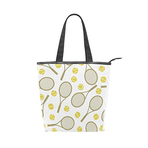 Rootti - Bolso de lona para mujer, diseño de raqueta de tenis, reutilizable, bolsa de viaje, bolsa de mano, para mujer, mujer, mujer, niña, bolsa de viaje