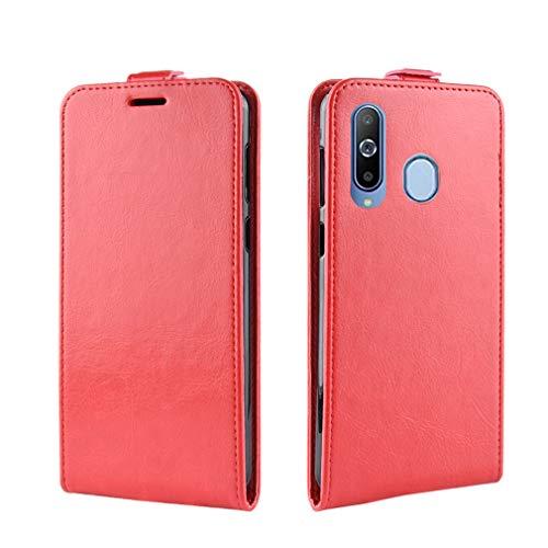 LMFULM® Hülle für Samsung Galaxy A8s (6,4 Zoll) PU Leder Magnet Brieftasche Lederhülle Handytasche Up-Down-Flip Design Stent-Funktion Ledertasche Cover für Galaxy A8s Rot