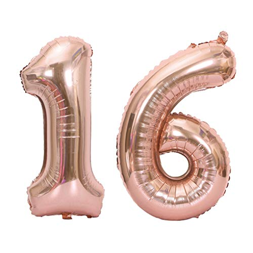 Juland Rose Gold Number 16 Balloons Large Foil Mylar Balloons 40 Inch Giant Jumbo Number Balloons for 16th Birthday Party Decorations
