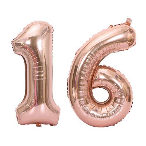 Juland Luftballons 16. Geburtstag XXL Riesen Folienballon Luftballon Zahl 16 Rose Gold Nummer Ballons Große Folienmylar-Ballons 40-Zoll-Riesen-Jumbo-Zahl-Ballons zum 16. Geburtstag Partydekorationen