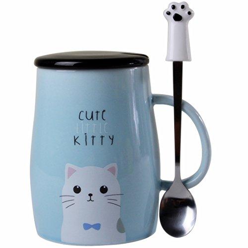 Angelice Home Taza de gato con cuchara creativa de acero inoxidable, taza de café para amantes de gatitos