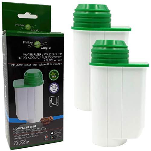 FilterLogic CFL-901B | Wasserfilter kompatibel mit Brita Intenza TCZ7003 TZ70003 00575491 für Siemens EQ Series EQ.3 EQ.5 EQ.6 EQ.7 EQ.8 EQ.9 plus/Bosch Verocup Verobar Kaffeevollautomat (2er Pack)