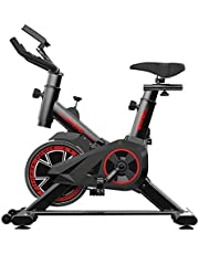 Spin Bike With LCD Monitor Exercise Bike Indoor Ultra Silent Belt Drive Cardio Workout Machine Upright Bike Home Gym 264 Lbs Max Weight Red And Black