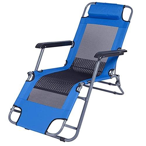 Tumbona Plegable Reclinable con Malla Transpirable Silla Ajustable de Tela Sintética Muebles de Jardín al Aire Libre Cama para Playa Piscina Patio al Aire Libre Pies de Camping Acero 100 Kg Máx.