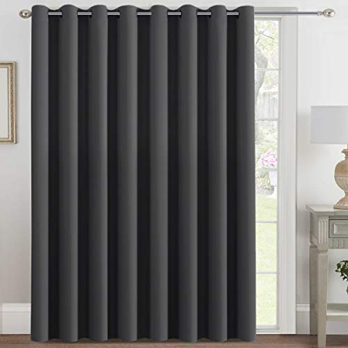 H.VERSAILTEX Blackout Patio Curtains 100 x 108 Inches for Sliding Door Extral Wide Blackout Curtain Panels Thermal Insulated Room Divider - Grommet Top, 9' Tall by 8.5' Wide - Charcoal Gray